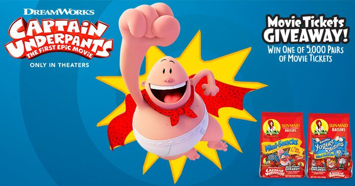 Sun-Maid Captain Underpants Movie Tickets Giveaway