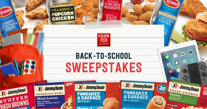 Tyson Back To School Sweepstakes