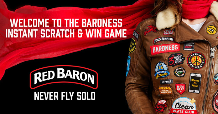 Red Baron Pizza Baroness Instant Scratch And Win Game