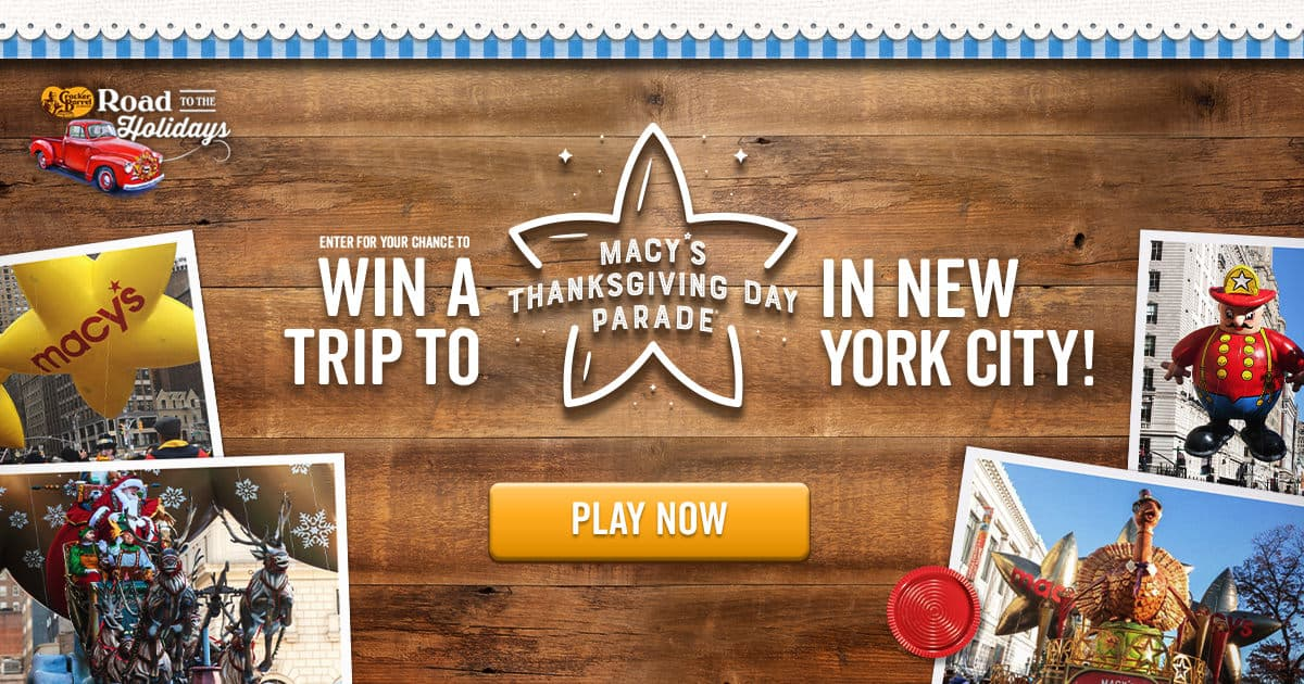 Cracker Barrel Road to the Holidays Sweepstakes
