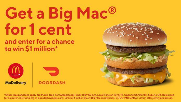 DoorDash $1 Million Sweepstakes at McDonald's