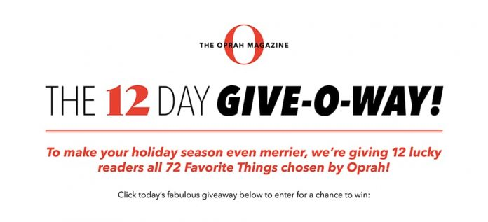 Oprah 12 Day Giveaway 2020 (OprahMag.com/12Days-2020)