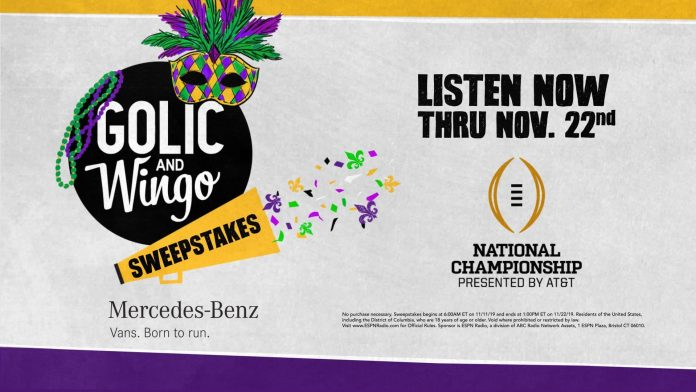 Golic And Wingo 2020 CFP National Championship Sweepstakes
