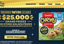 Quaker Chewy Golden Wrapper Instant Win Game 2020